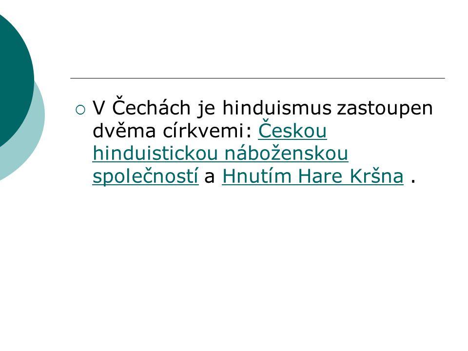 V Čechách je hinduismus zastoupen dvěma církvemi: Českou hinduistickou náboženskou společností a Hnutím Hare Kršna .