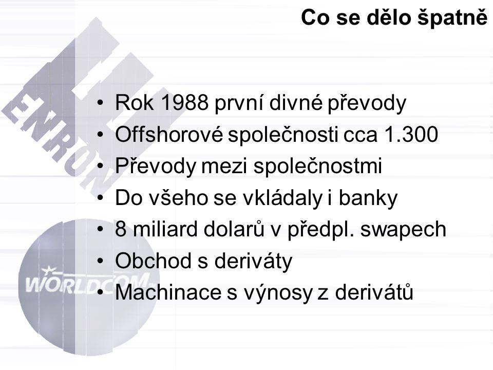 Co se dělo špatně Rok 1988 první divné převody. Offshorové společnosti cca 1.300. Převody mezi společnostmi.