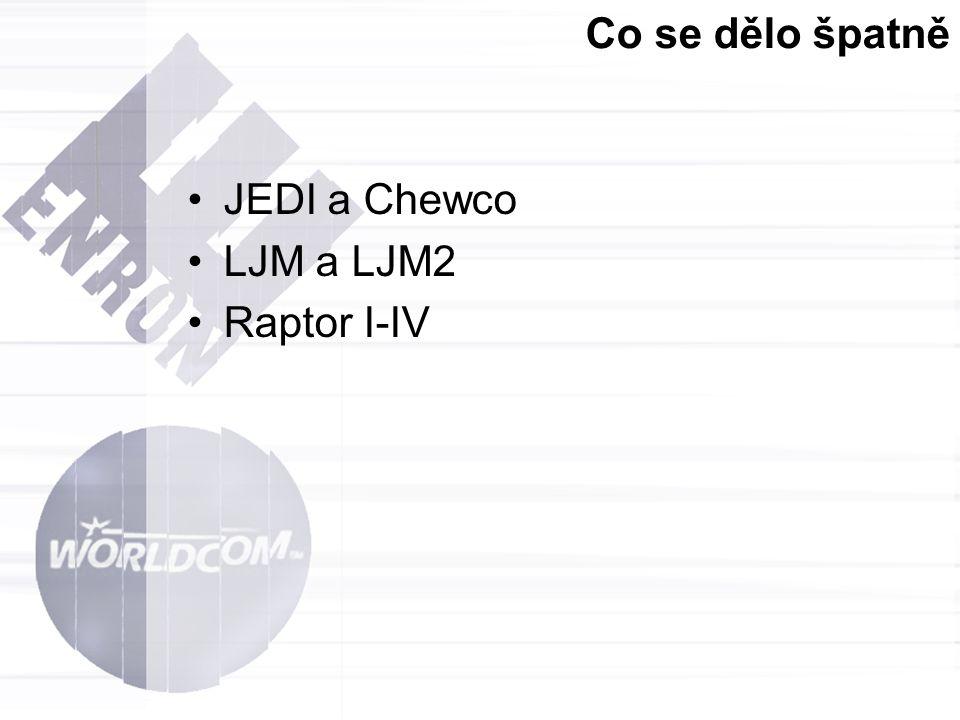 Co se dělo špatně JEDI a Chewco LJM a LJM2 Raptor I-IV