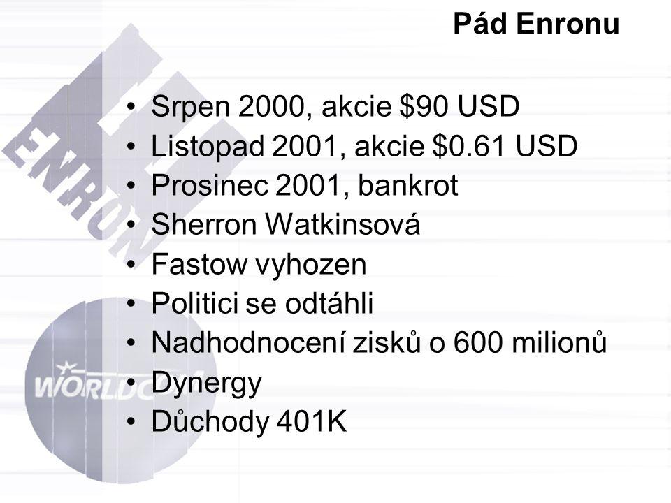 Pád Enronu Srpen 2000, akcie $90 USD. Listopad 2001, akcie $0.61 USD. Prosinec 2001, bankrot. Sherron Watkinsová.