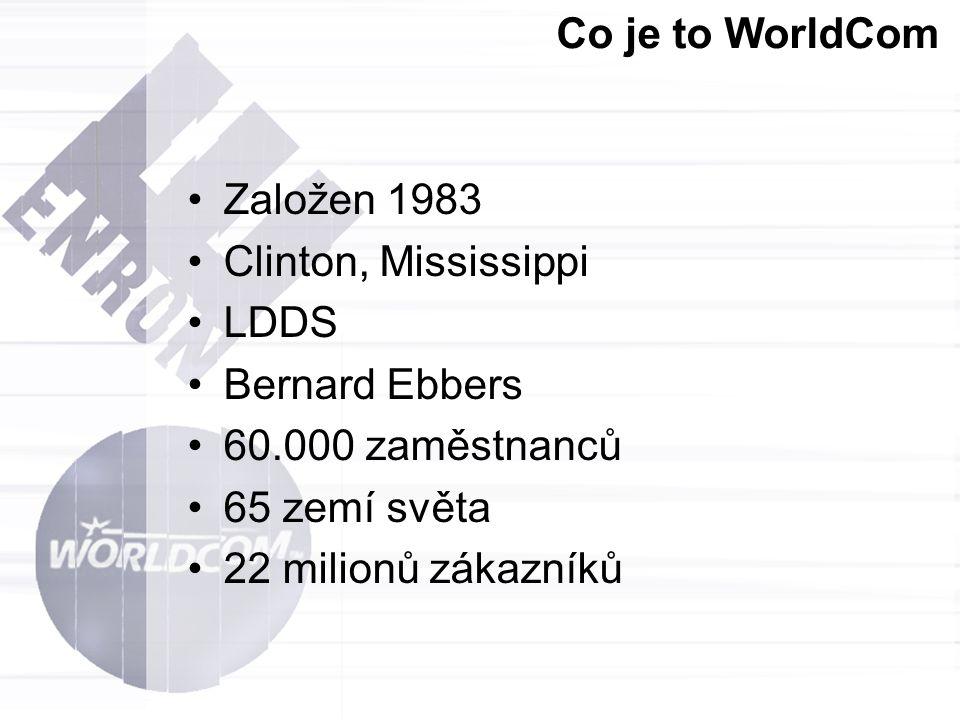 Co je to WorldCom Založen 1983. Clinton, Mississippi. LDDS. Bernard Ebbers. 60.000 zaměstnanců.