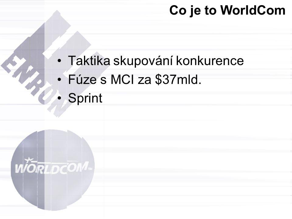 Co je to WorldCom Taktika skupování konkurence Fúze s MCI za $37mld. Sprint