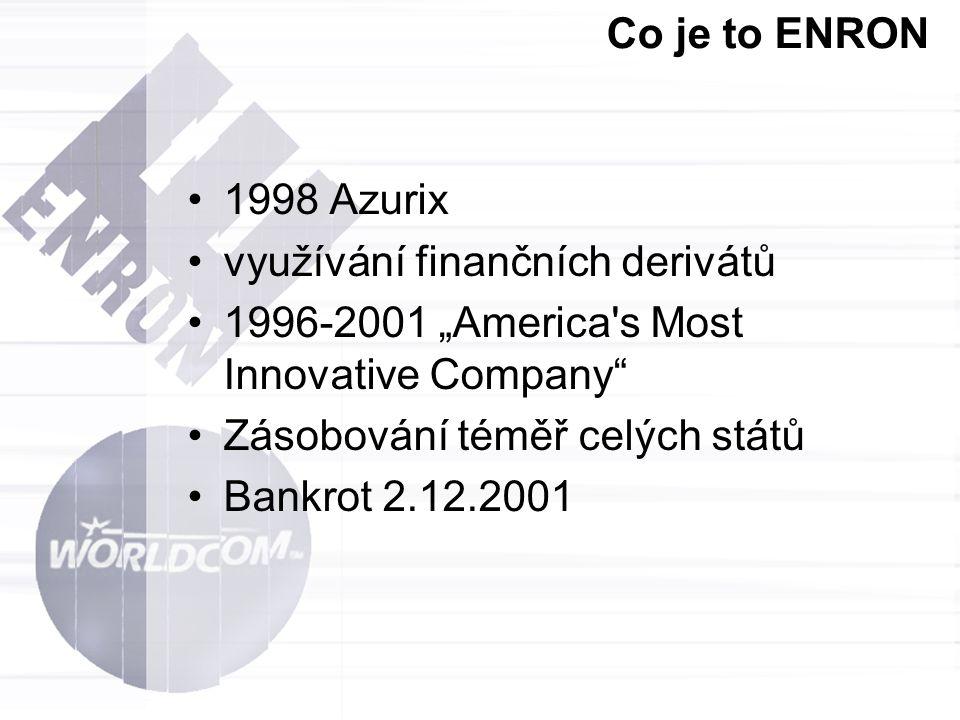 """Co je to ENRON 1998 Azurix. využívání finančních derivátů. 1996-2001 """"America s Most Innovative Company"""