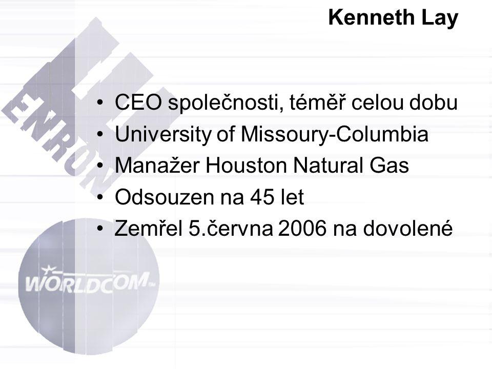 Kenneth Lay CEO společnosti, téměř celou dobu. University of Missoury-Columbia. Manažer Houston Natural Gas.