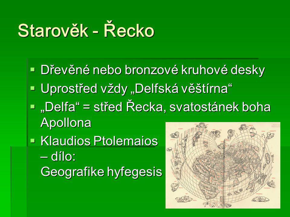 Starověk - Řecko Dřevěné nebo bronzové kruhové desky