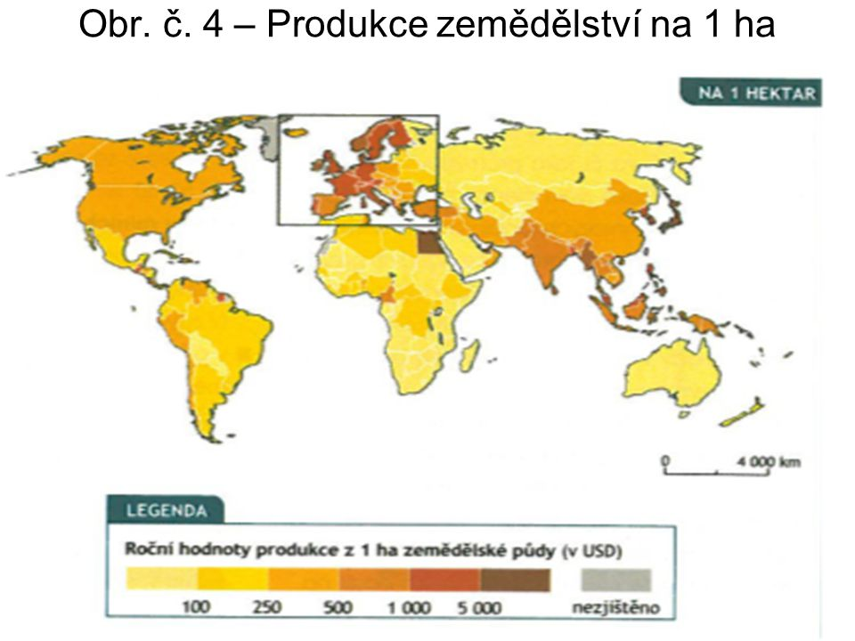 Obr. č. 4 – Produkce zemědělství na 1 ha
