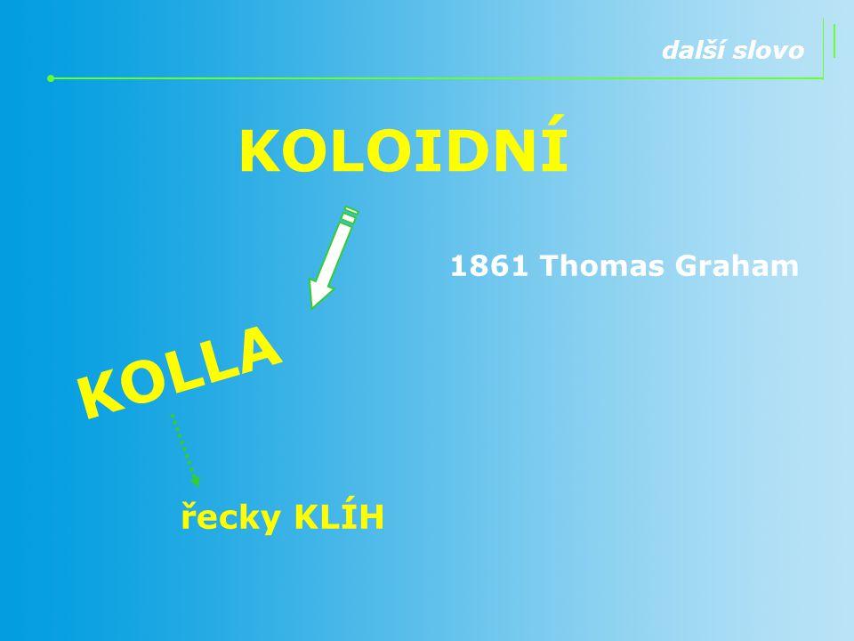 další slovo KOLOIDNÍ 1861 Thomas Graham KOLLA řecky KLÍH