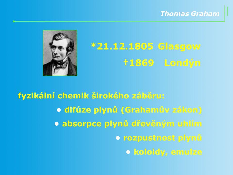 *21.12.1805 Glasgow †1869 Londýn fyzikální chemik širokého záběru: