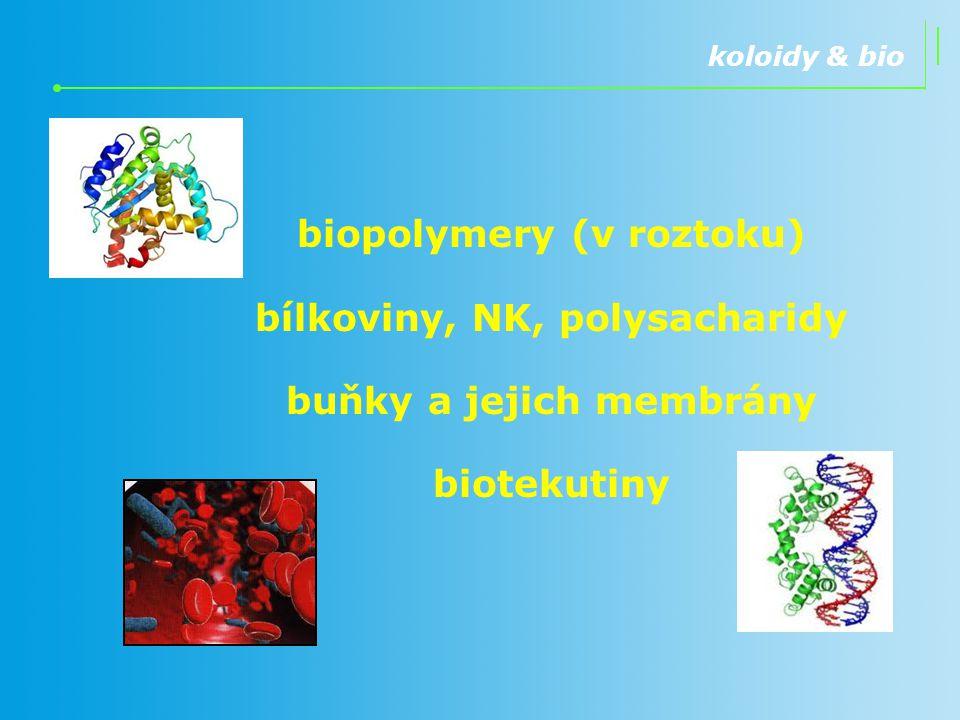 biopolymery (v roztoku) bílkoviny, NK, polysacharidy