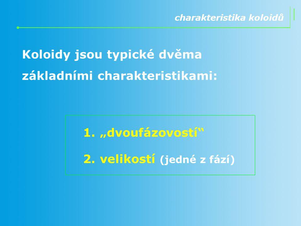 Koloidy jsou typické dvěma základními charakteristikami: