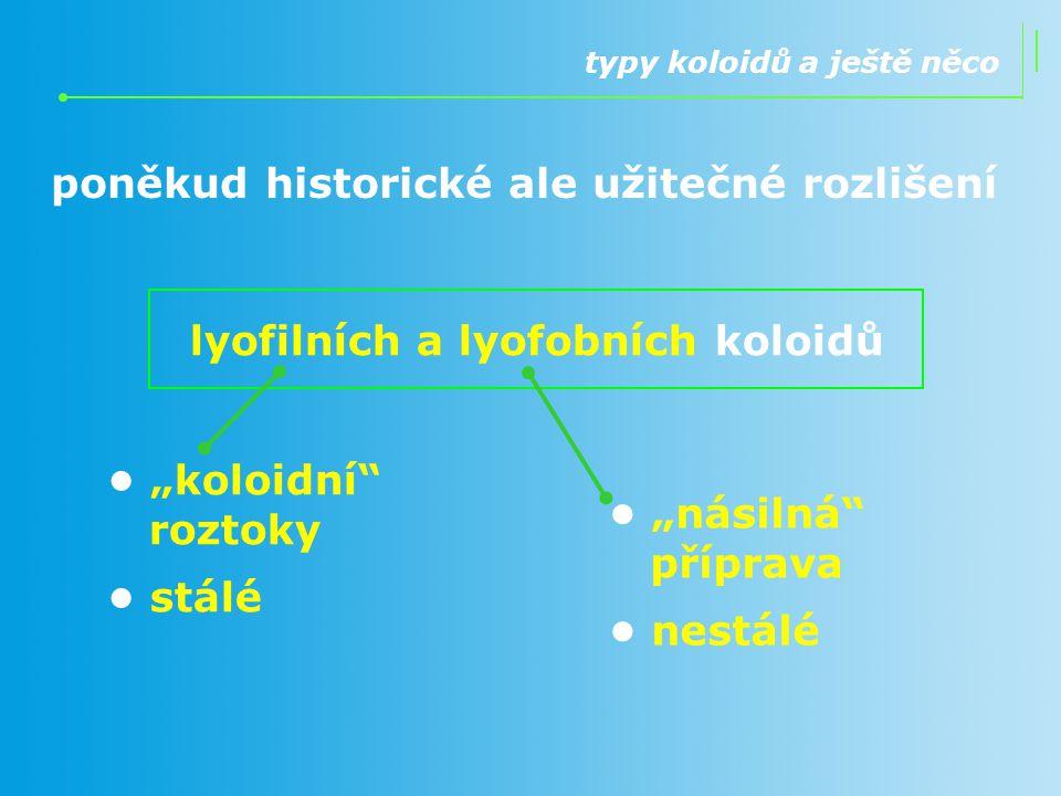 lyofilních a lyofobních koloidů