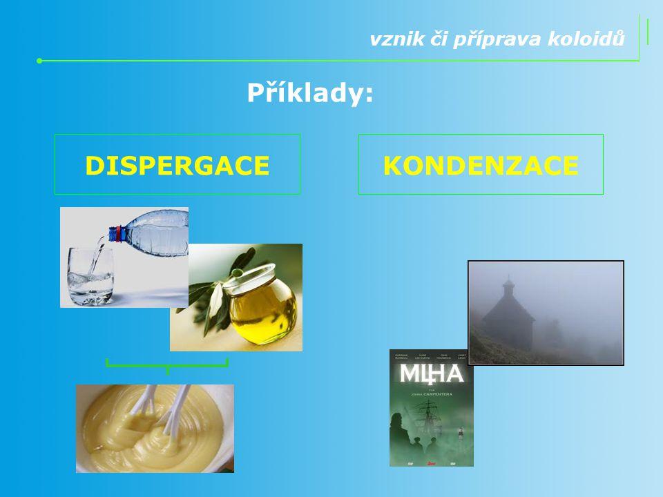 Příklady: DISPERGACE KONDENZACE