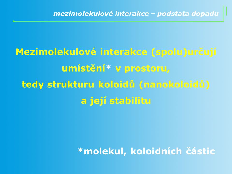 Mezimolekulové interakce (spolu)určují umístění* v prostoru,