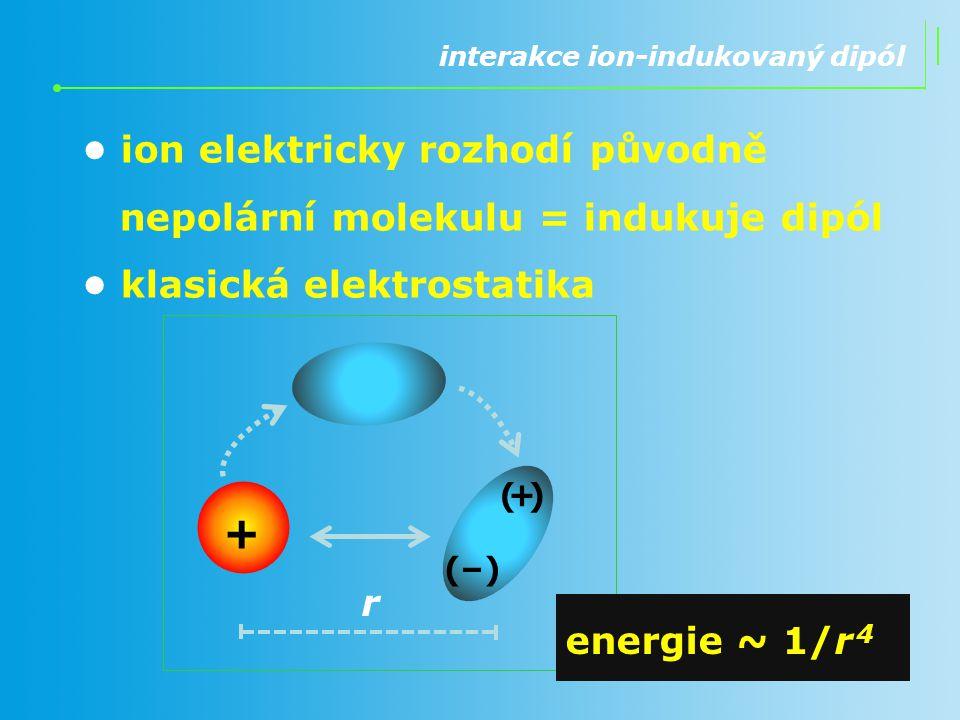 + • ion elektricky rozhodí původně nepolární molekulu = indukuje dipól