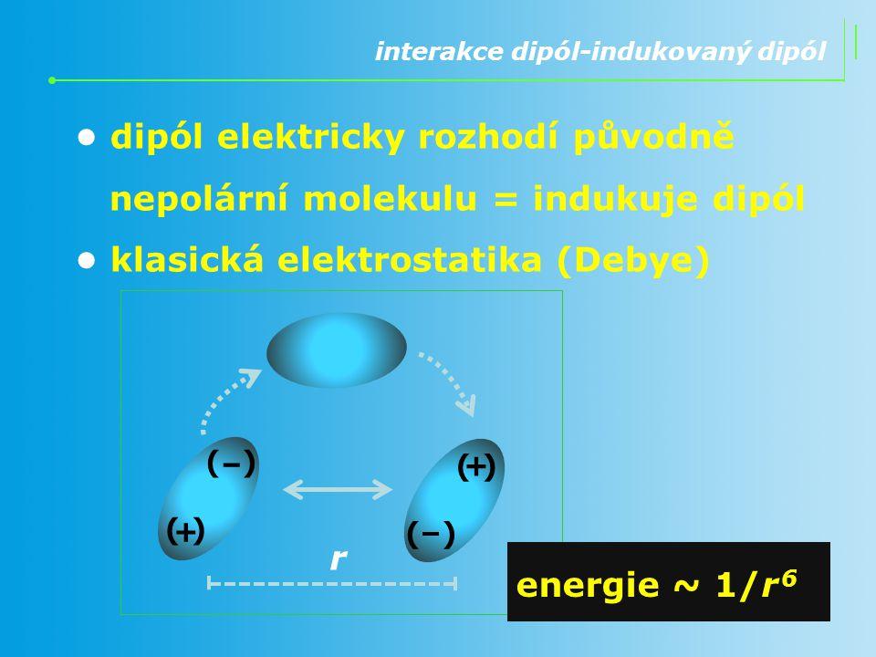 • dipól elektricky rozhodí původně nepolární molekulu = indukuje dipól