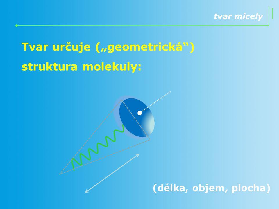"""Tvar určuje (""""geometrická ) struktura molekuly:"""