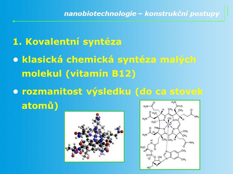 • klasická chemická syntéza malých molekul (vitamín B12)