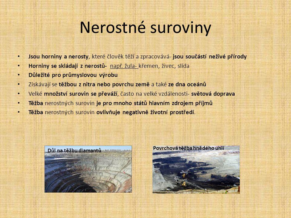 Nerostné suroviny Jsou horniny a nerosty, které člověk těží a zpracovává- jsou součástí neživé přírody.