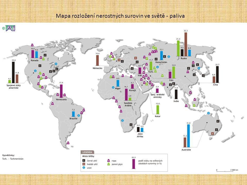 Mapa rozložení nerostných surovin ve světě - paliva
