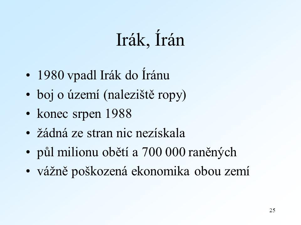 Irák, Írán 1980 vpadl Irák do Íránu boj o území (naleziště ropy)