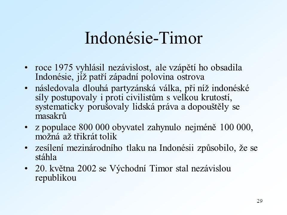 Indonésie-Timor roce 1975 vyhlásil nezávislost, ale vzápětí ho obsadila Indonésie, jíž patří západní polovina ostrova.