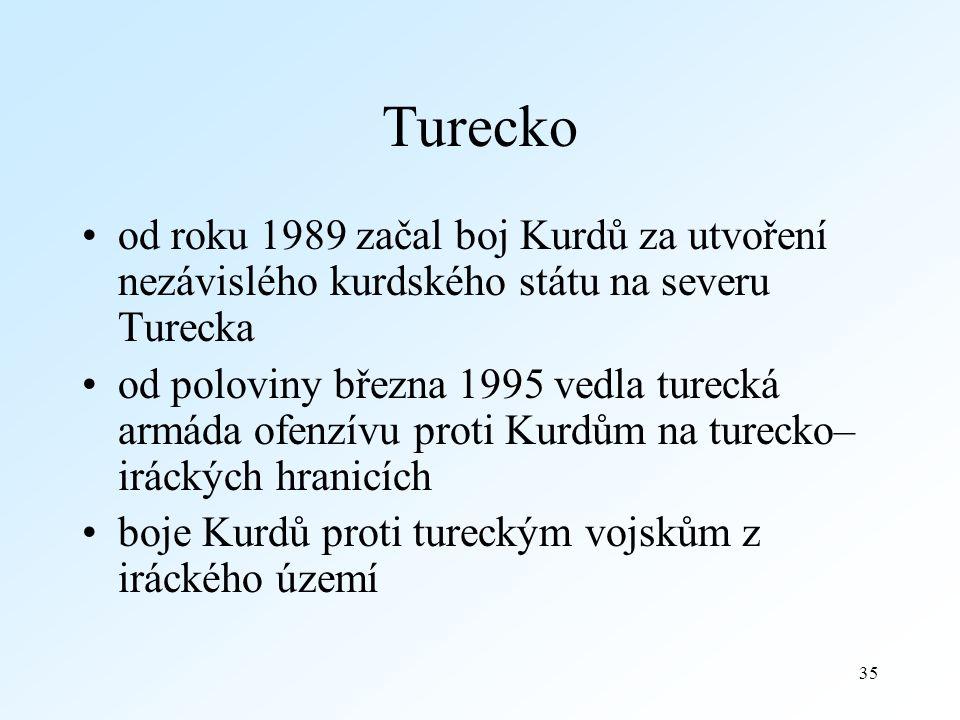Turecko od roku 1989 začal boj Kurdů za utvoření nezávislého kurdského státu na severu Turecka.
