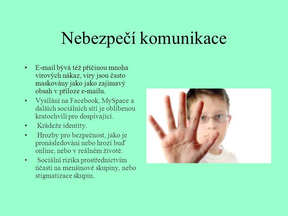 Nebezpečí komunikace E-mail bývá též příčinou mnoha virových nákaz, viry jsou často maskovány jako jako zajímavý obsah v příloze e-mailu.