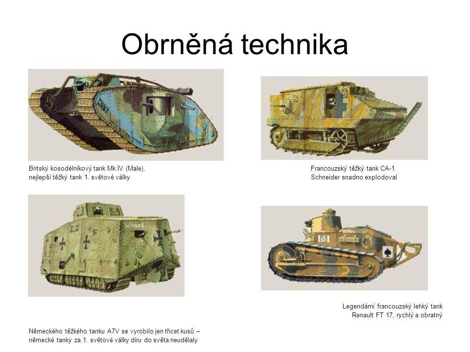Obrněná technika Britský kosodélníkový tank Mk IV (Male), Francouzský těžký tank CA-1.