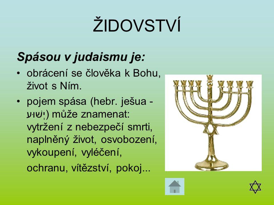 ŽIDOVSTVÍ Spásou v judaismu je: