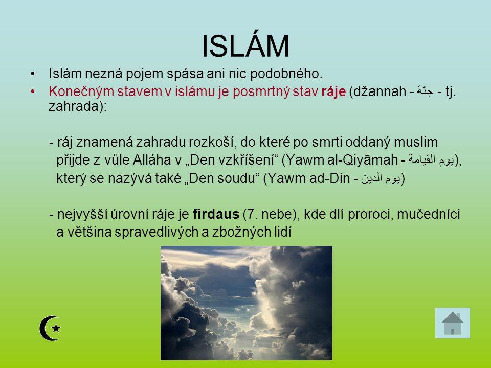 ISLÁM Islám nezná pojem spása ani nic podobného.