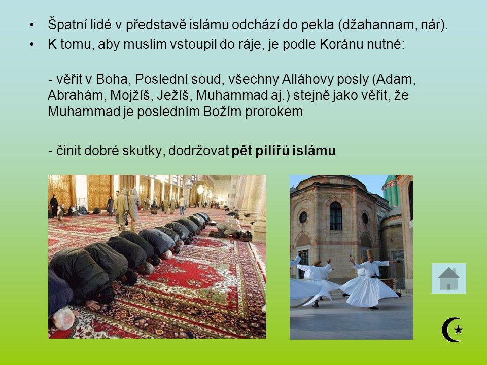Špatní lidé v představě islámu odchází do pekla (džahannam, nár).