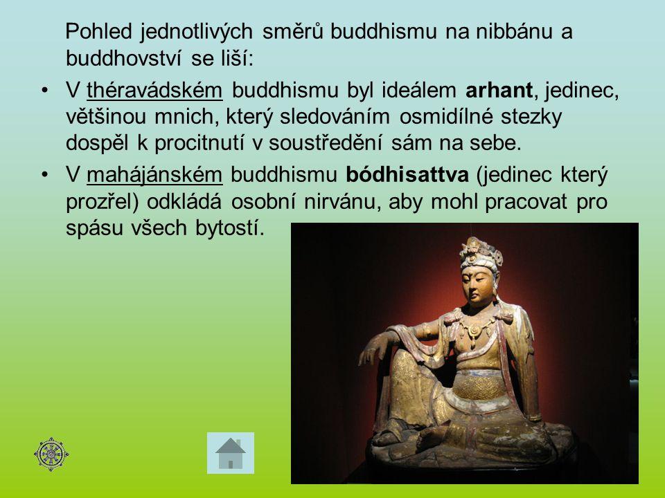 Pohled jednotlivých směrů buddhismu na nibbánu a buddhovství se liší: