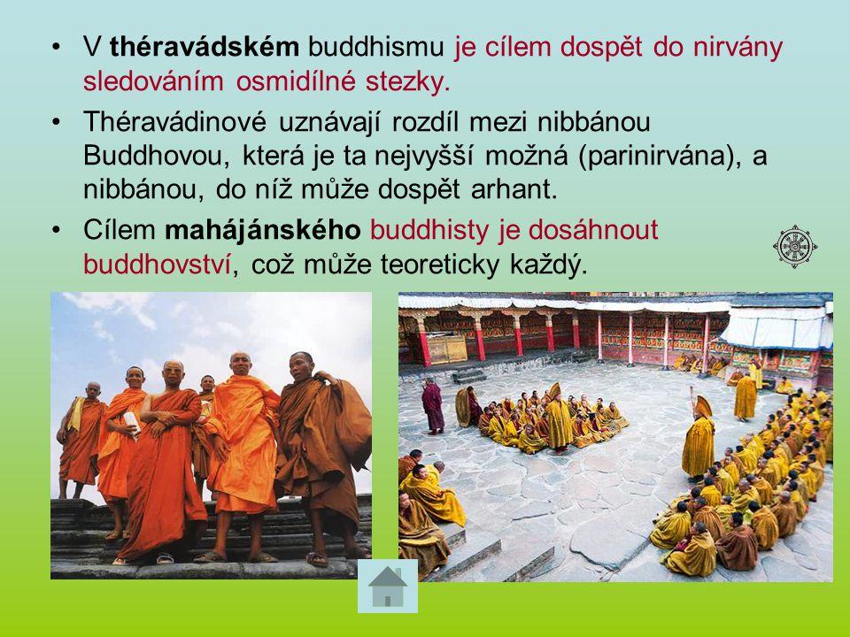 V théravádském buddhismu je cílem dospět do nirvány sledováním osmidílné stezky.