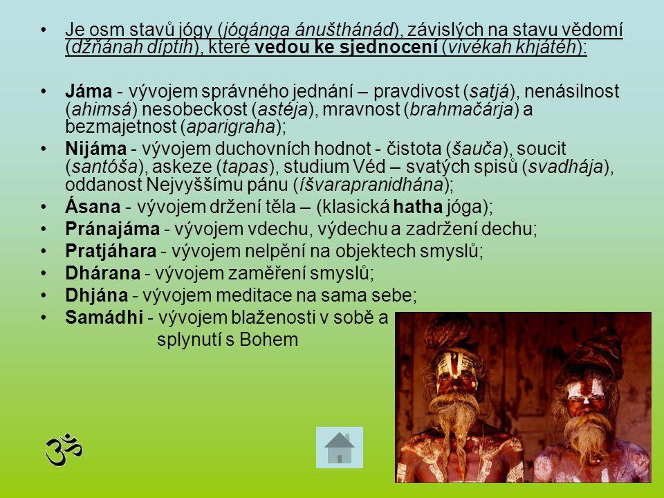 Je osm stavů jógy (jógánga ánušthánád), závislých na stavu vědomí (džňánah díptih), které vedou ke sjednocení (vivékah khjátéh):