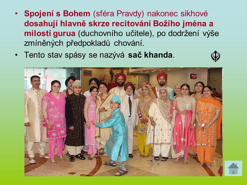 Spojení s Bohem (sféra Pravdy) nakonec sikhové dosahují hlavně skrze recitování Božího jména a milostí gurua (duchovního učitele), po dodržení výše zmíněných předpokladů chování.