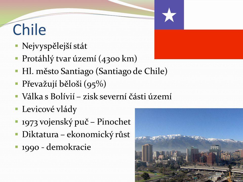 Chile Nejvyspělejší stát Protáhlý tvar území (4300 km)