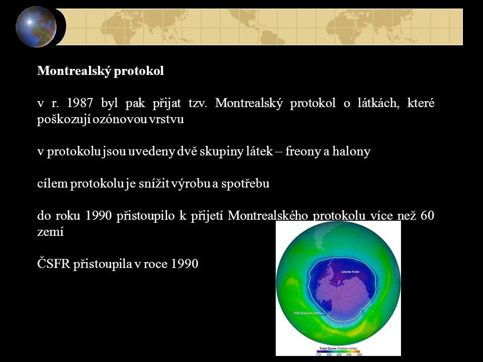 Montrealský protokol v r. 1987 byl pak přijat tzv. Montrealský protokol o látkách, které poškozují ozónovou vrstvu.