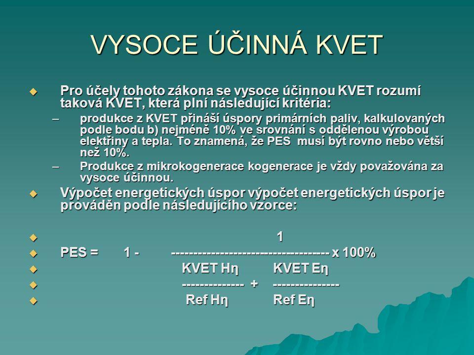 VYSOCE ÚČINNÁ KVET Pro účely tohoto zákona se vysoce účinnou KVET rozumí taková KVET, která plní následující kritéria: