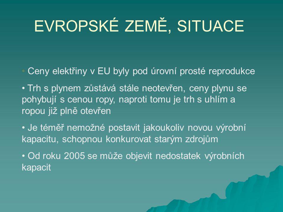 EVROPSKÉ ZEMĚ, SITUACE • Ceny elektřiny v EU byly pod úrovní prosté reprodukce.