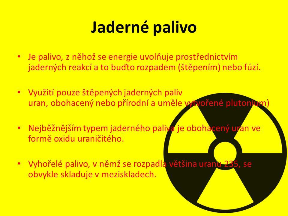 Jaderné palivo Je palivo, z něhož se energie uvolňuje prostřednictvím jaderných reakcí a to buďto rozpadem (štěpením) nebo fúzí.