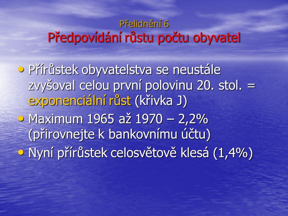 Přelidnění 6 Předpovídání růstu počtu obyvatel
