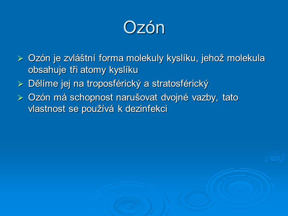 Ozón Ozón je zvláštní forma molekuly kyslíku, jehož molekula obsahuje tři atomy kyslíku. Dělíme jej na troposférický a stratosférický.
