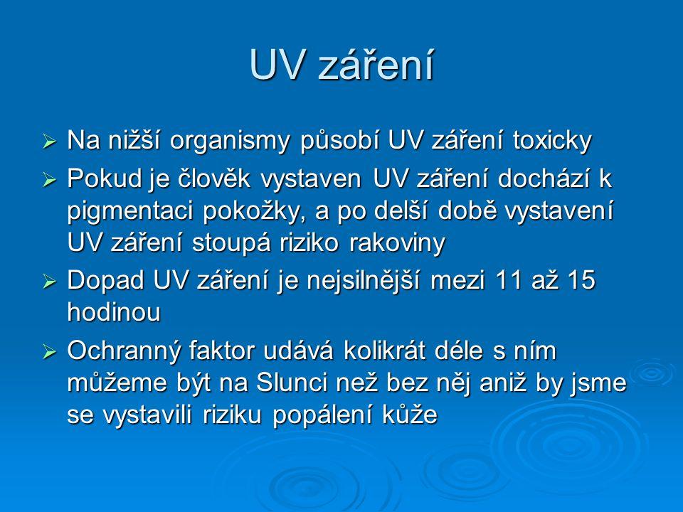 UV záření Na nižší organismy působí UV záření toxicky