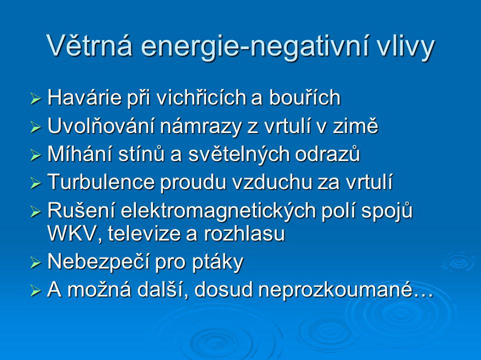 Větrná energie-negativní vlivy