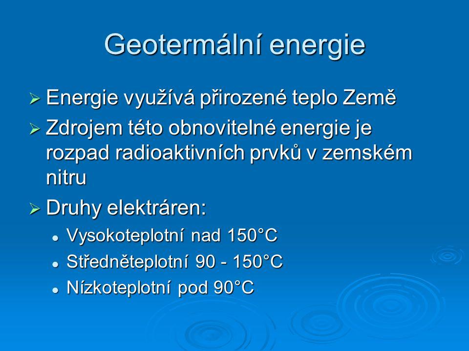 Geotermální energie Energie využívá přirozené teplo Země