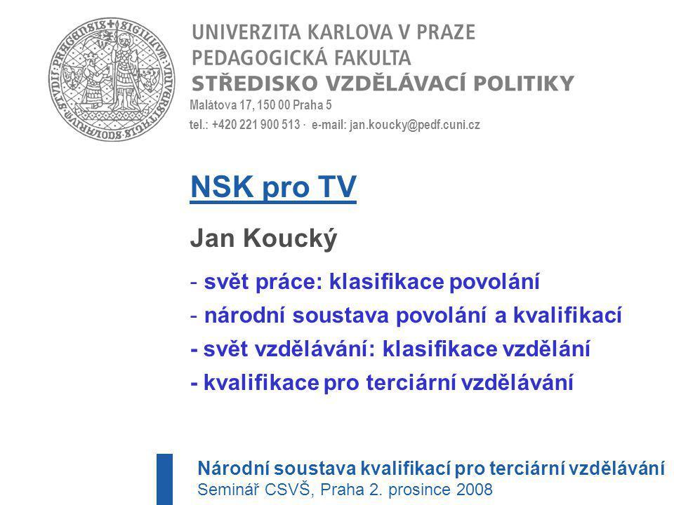 NSK pro TV Jan Koucký svět práce: klasifikace povolání