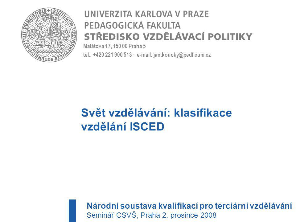 Svět vzdělávání: klasifikace vzdělání ISCED