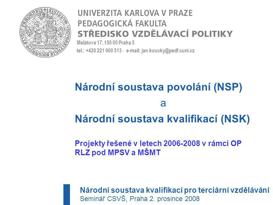Národní soustava povolání (NSP) a Národní soustava kvalifikací (NSK)