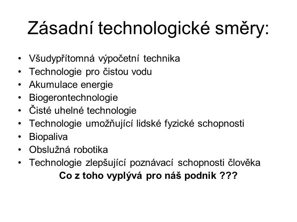 Zásadní technologické směry: