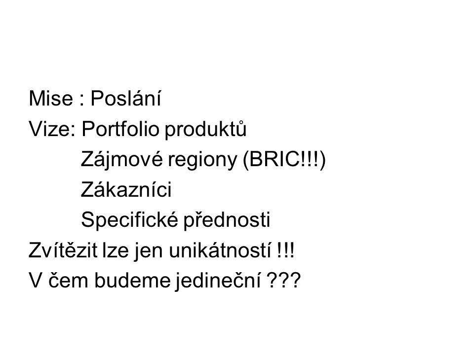 Mise : Poslání Vize: Portfolio produktů. Zájmové regiony (BRIC!!!) Zákazníci. Specifické přednosti.